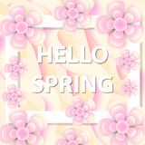 Hello Spring greeting card with flowers, modern paper cut style. International Women`s Day, March 8 template for your. Design. Vector illustration royalty free illustration