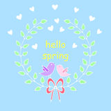 Hello spring greeting card. Hand drawn illustration with Flower Royalty Free Stock Images