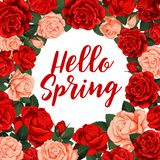 Hallo spring vector poster. Hello spring greeting card. Vector poster with circle frame of roses on white background. Vector floral design with red and pink Stock Photography