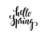 Hello Spring. Hand drawn calligraphy and brush pen lettering. design for holiday greeting card and invitation Stock Photo
