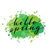 Hello Spring. Hand drawn calligraphy and brush pen lettering. design for holiday greeting and seasonal spring holiday Stock Photos