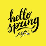 Hello Spring, hand drawn calligraphy and lettering. Design for holiday greeting and seasonal spring holiday card. Happy Stock Image