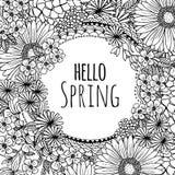 Hello spring - hand drawn frame Stock Photos