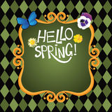 Hello spring hand drawn lettering Royalty Free Stock Images
