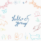 Hello Spring hand drawn lettering. With flora and fauna. Squirrel, bird, butterfly, ladybug, cat and blooming forest Stock Image