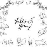 Hello Spring hand drawn lettering with flora and fauna. Royalty Free Stock Photography