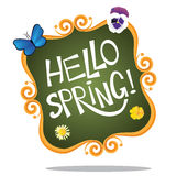 Hello spring hand drawn lettering icon stock illustration Stock Images