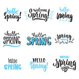 Hello, spring - hand drawn lettering phrases set isolated on the white background. Fun brush ink inscription for photo overlays, g. Reeting card or t-shirt print Stock Photos
