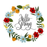Hello Spring hand lettering greeting card. Decorative floral wreath. Hello Spring hand lettering greeting card. Hand drawn illustration with floral wreath royalty free illustration