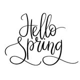 Hello Spring Hand Lettering Inscription. Spring Greeting Card. Brush Calligraphy. Royalty Free Stock Photography