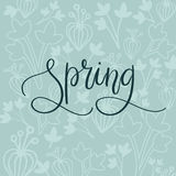 Hello Spring Hand Lettering Inscription. Spring Greeting Card. Brush Calligraphy. Vector Illustration Royalty Free Stock Photo