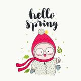 Hello spring cute child. Hello spring - handwritten lettering, a smiling child in cute beanie and scarf, and green leaves. Vector illustration. Isolated elements vector illustration