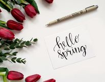 Hello Spring Handwritten Paper Royalty Free Stock Photography