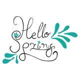 Hello spring handwritten vector illustration Stock Photo