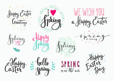 Hello spring Happy Easter lettering typography set Stock Illustration