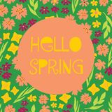 Hello Spring illustrated feminine vector banner collage style with text, colorful various flowers. Yellow pink green background vector illustration