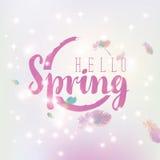 Hello spring inscription Stock Photo