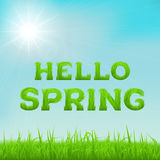 Hello spring inscription made of grass. Spring background with green early spring grass on blurred soft background. Grassland blurred background with sun rays Royalty Free Stock Photos