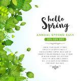 Hello Spring Leaves Background Royalty Free Stock Photo