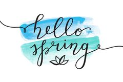Hello spring lettering Stock Photo