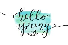 Hello spring lettering Royalty Free Stock Image