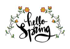 Hello spring lettering Royalty Free Stock Images