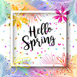 Hello Spring. Lettering, Carnival frame and falling bright confetti on bright colorful palm tree leaves background for Birthday, Holiday, Carnival, Halloween Royalty Free Stock Images
