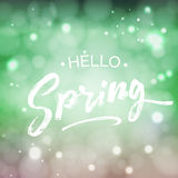 Hello Spring lettering design element. Hand written quote. Special springtime sale typography poster in green fresh colors Stock Image