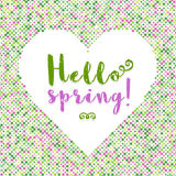Hello Spring lettering Dot background silhouette of heart Stock Photo
