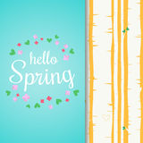 Hello spring lettering with flat flowers and leafs. Spring birch forest background. Stock Photos