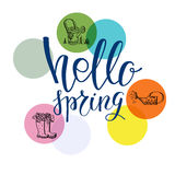 Hello spring lettering Stock Photos