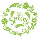 Hello spring lettering greeting card. Hand drawn illustration with flower wreath and lettering Royalty Free Stock Images