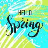 Hello spring. Lettering on Hand drawn Abstract background. Vector illustratio Royalty Free Stock Photography