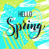 Hello spring. Lettering on Hand drawn Abstract background. Vector illustration Stock Photo