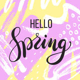 Hello spring. Lettering on Hand drawn Abstract background. Vector illustration Stock Photos