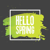 Hello spring. Lettering with hand drawn letters. Label and banner template with green leaves with frame  illustration. Black background Royalty Free Stock Image