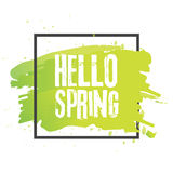 Hello spring. Lettering with hand drawn letters. Label and banner template with green leaves with frame  illustration. White background Stock Photos