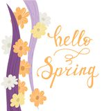 Hello spring lettering handwriting card. With wave and flowers pattern. Vector illustration Stock Photography