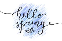 Hello spring lettering Royalty Free Stock Photos