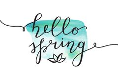 Hello spring lettering Stock Photography
