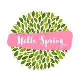 Hello spring lettering on pink banner and cute little flowers wi Royalty Free Stock Photos