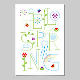 Hello Spring Lettering poster. Typographic Background. Royalty Free Stock Image