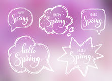 Hello spring. Lettering on speech bubbles Royalty Free Stock Image