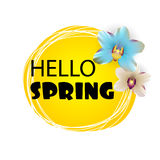Hello Spring lettering sunny flower backdrop Royalty Free Stock Photos