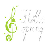Hello spring lettering with treble clef Royalty Free Stock Image