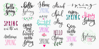 Hello spring lettering typography big set Stock Image