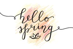 Hello spring lettering Stock Images