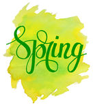 Hello Spring lettering on yellow green watercolor stroke. Vector illustration.Spring Watercolor Design.Spring Typography Lettering. Aquarelle Style.Hello Spring Royalty Free Stock Photo