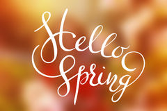 Hello Spring letters on a colorful background Cute lettering design Stock Photo