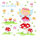 Hello Spring - Lovely little spring fairy dancing on the red mushroom royalty free illustration